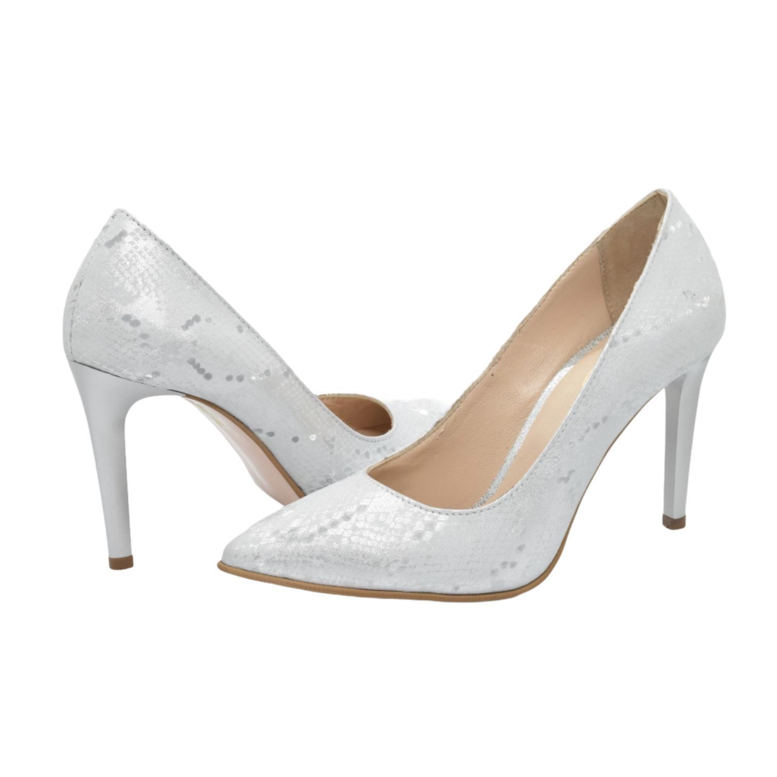 Pantofi cu imprimeu argintiu
