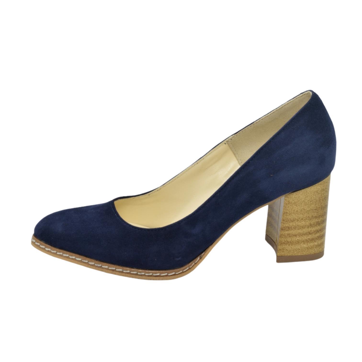 Pantofi bleumarin cu toc vintage