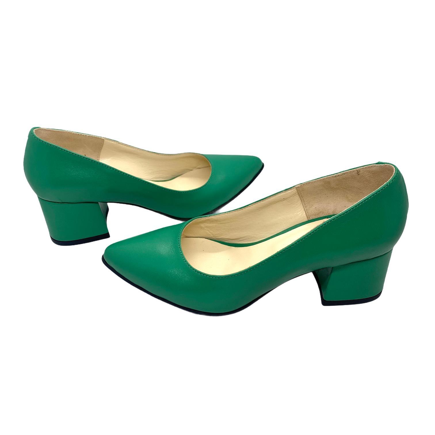 Pantofi verzi cu toc