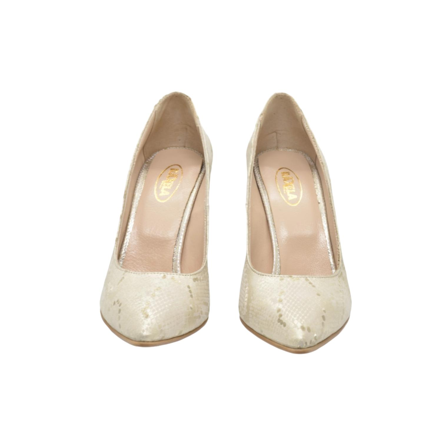 Pantofi bej cu imprimeu auriu