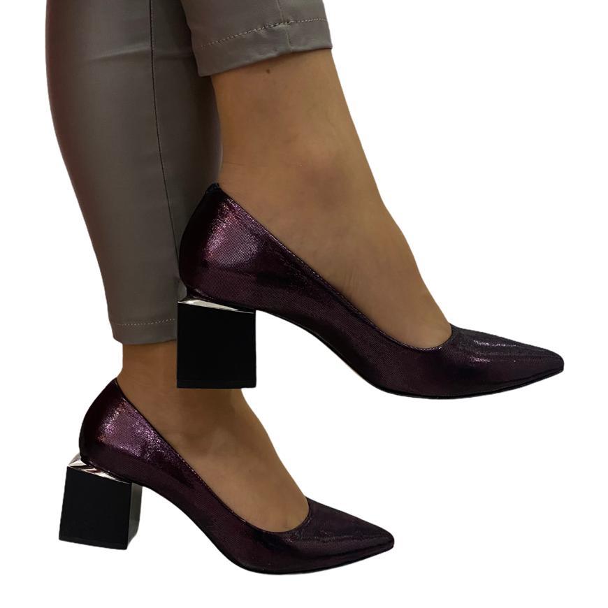 Pantofi mov cu toc cub