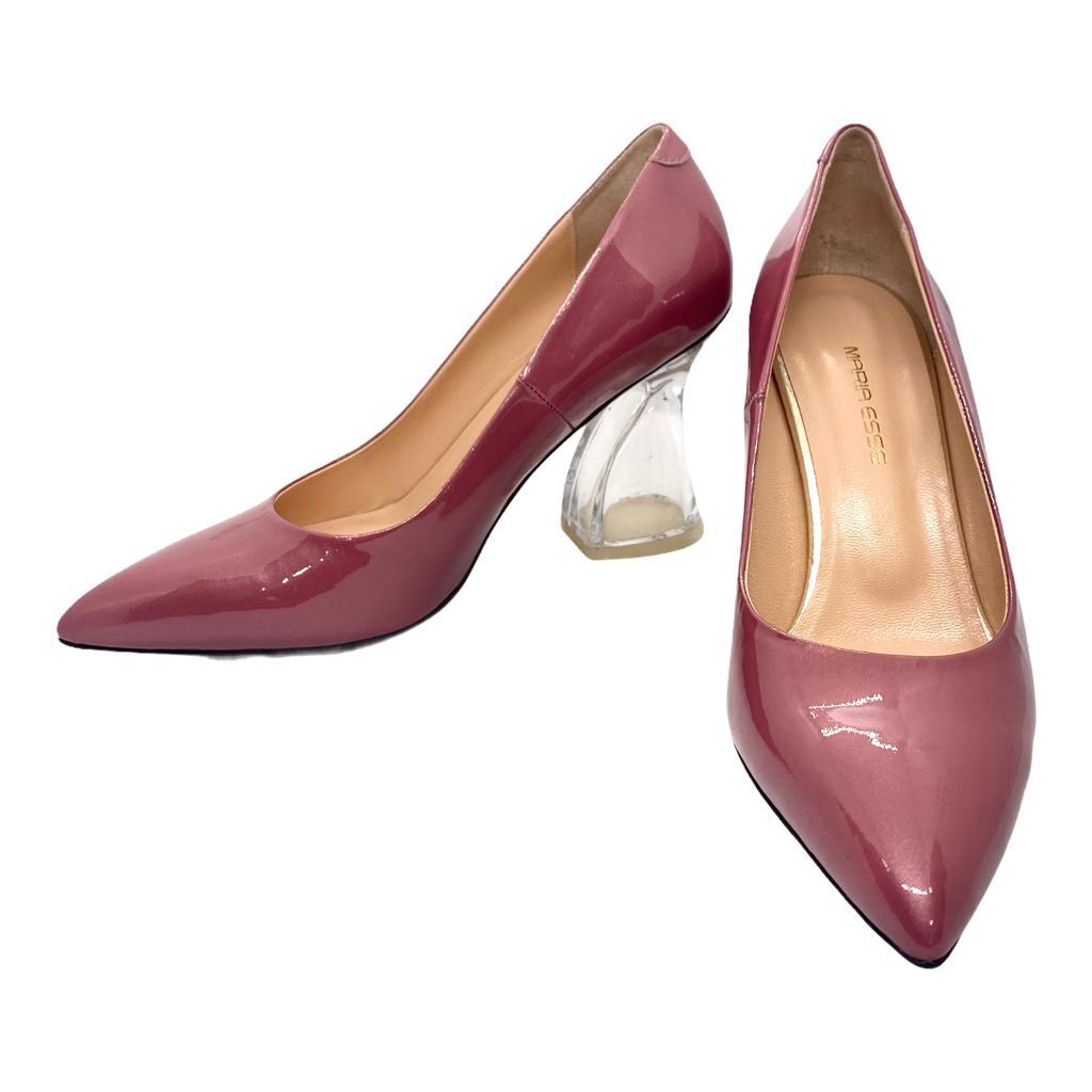 Pantofi roz cu toc stilizat transparent