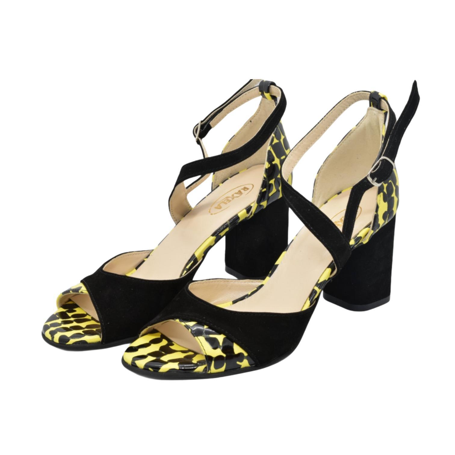 Sandale negre combinate cu galben