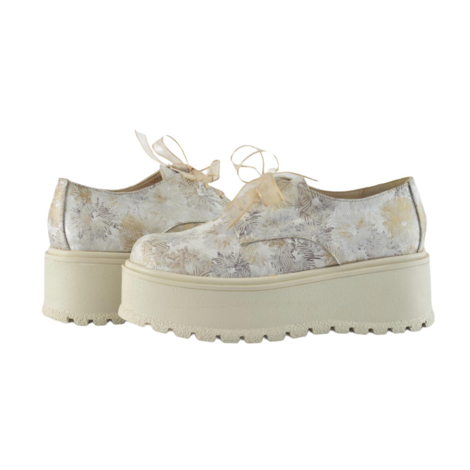Pantofi aurii cu imprimeu floral