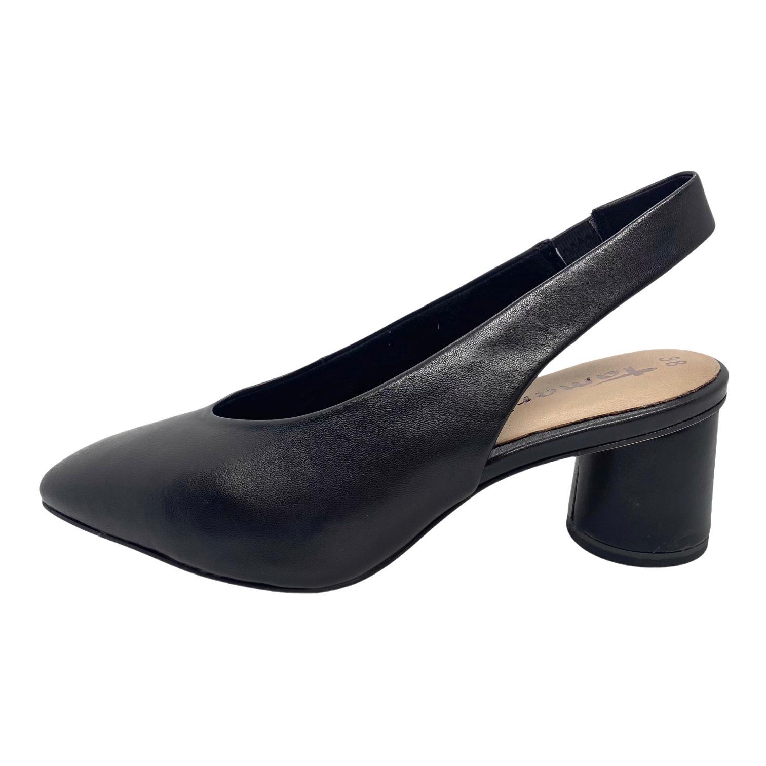 Pantofi Tamaris negri cu toc rotund decupati in spate