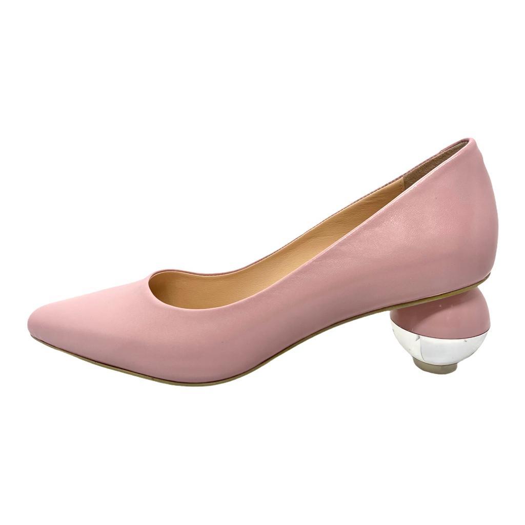 Pantofi roz cu toc rotund in doua culori