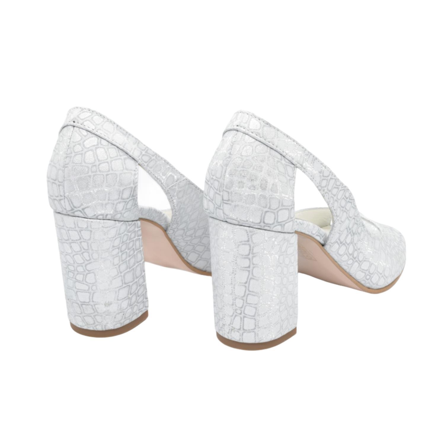 Sandale argintii cu imprimeu abstract