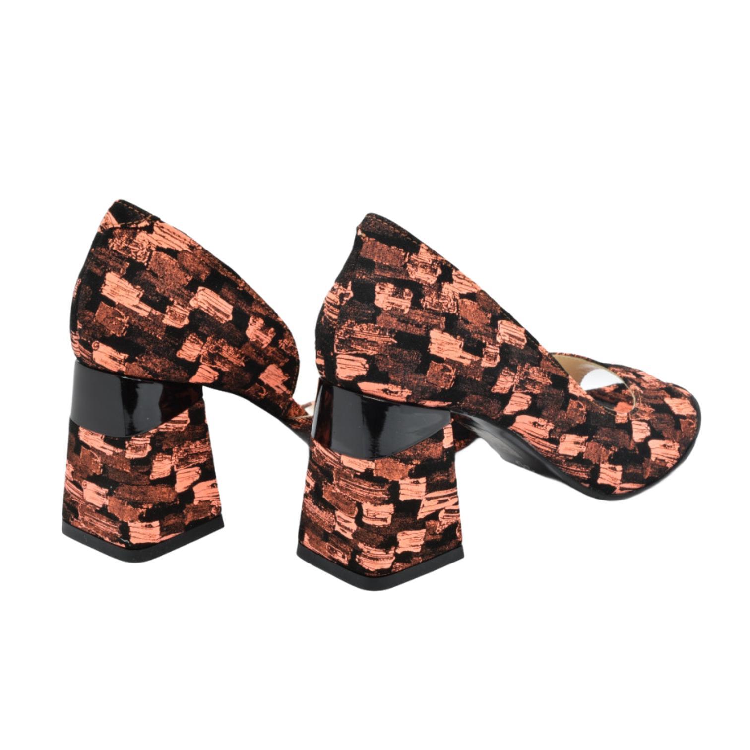 Sandale corai combinat cu negru
