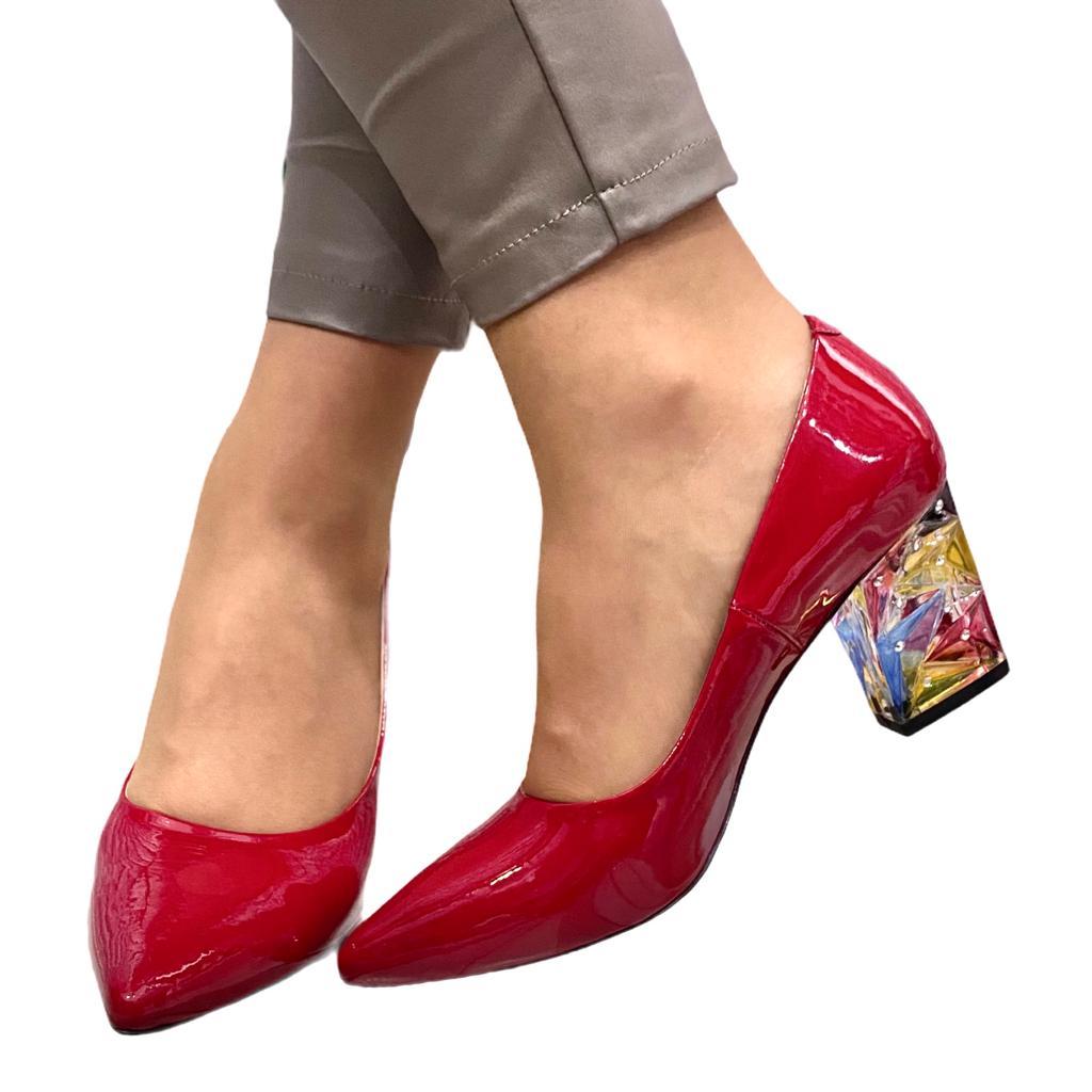 Pantofi rosii cu toc multicolor