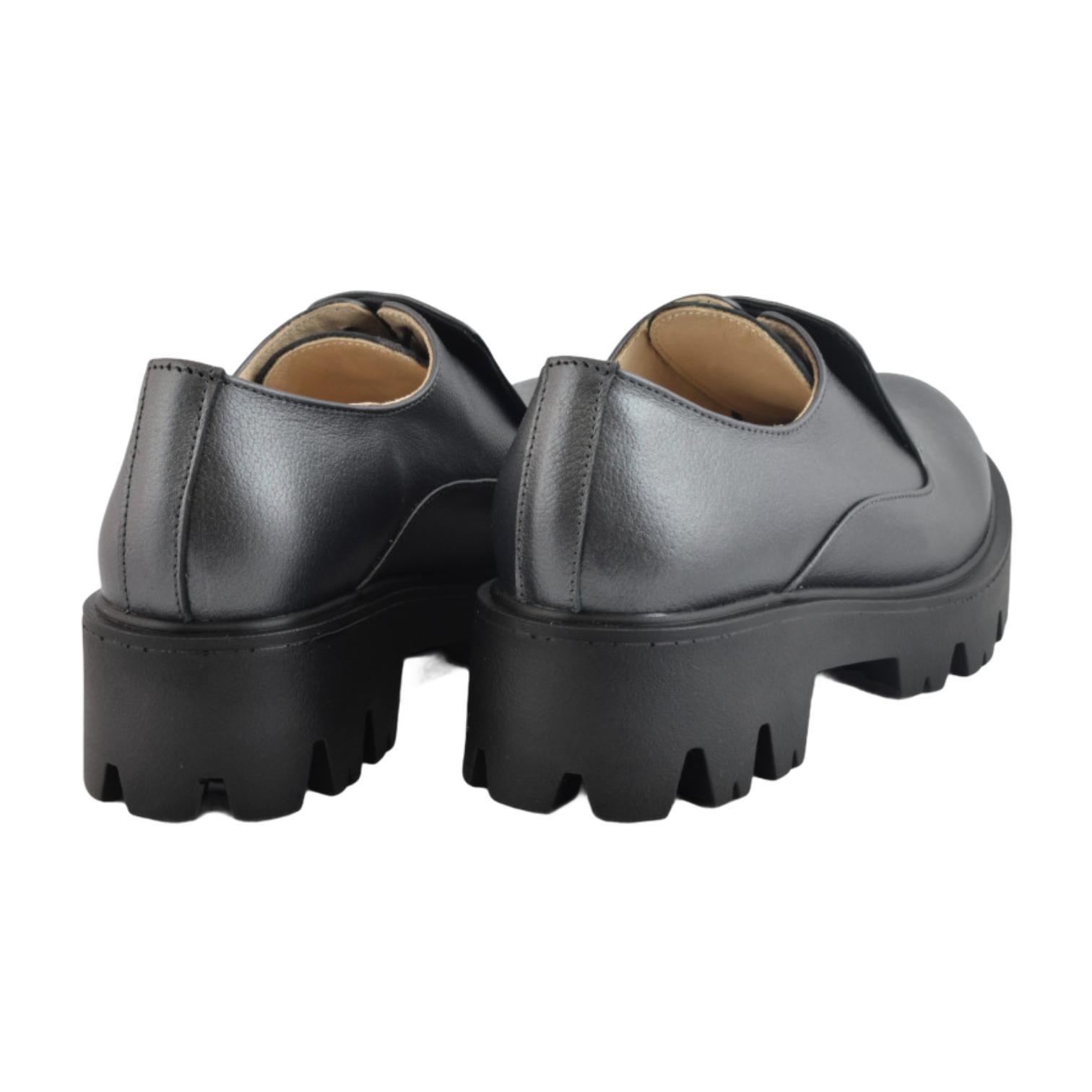 Pantofi antracit cu siret ascuns