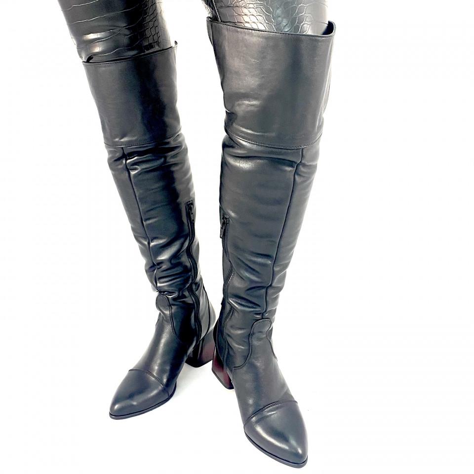 Cizme negre lungi cu manseta