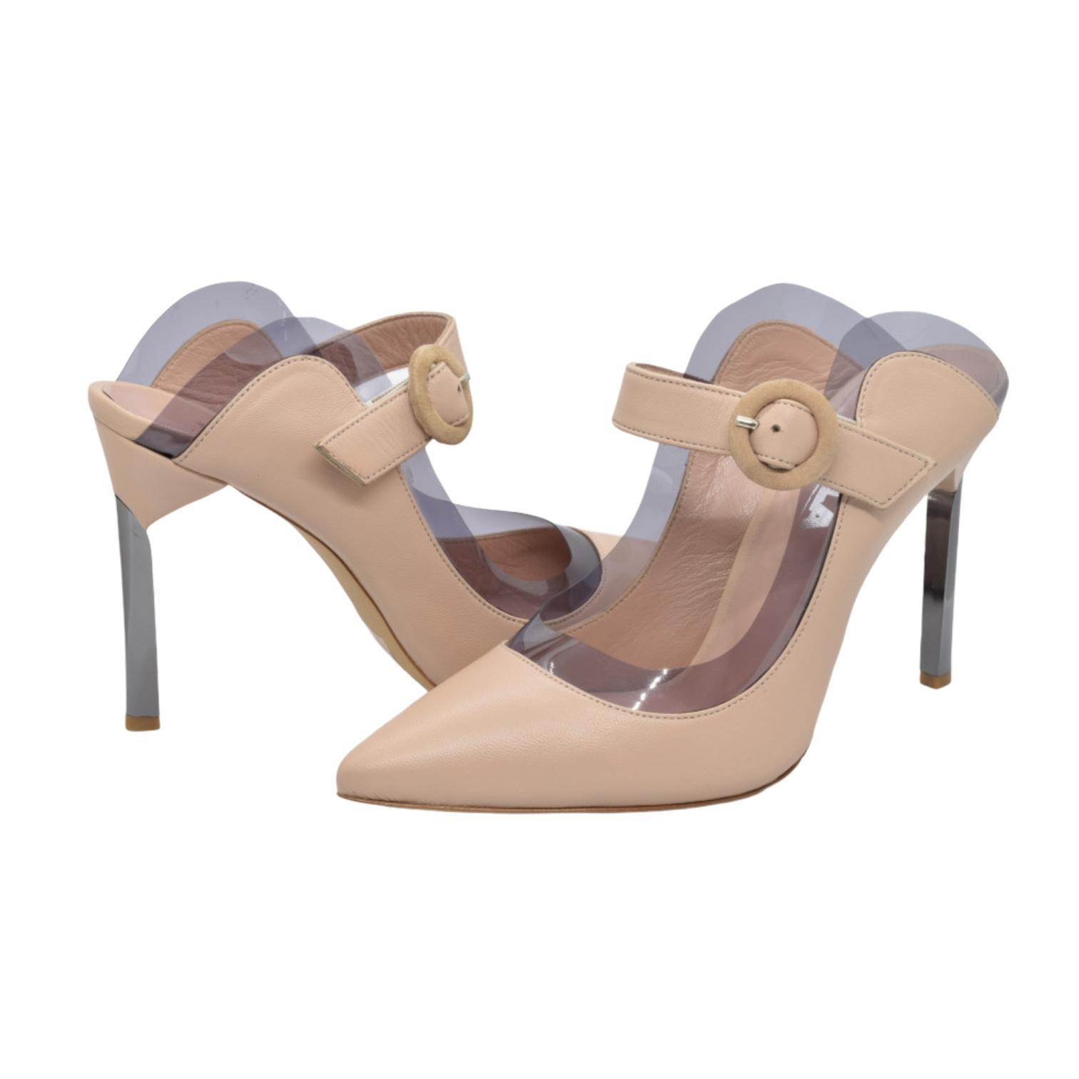 Pantofi nude cu detaliu din silicon