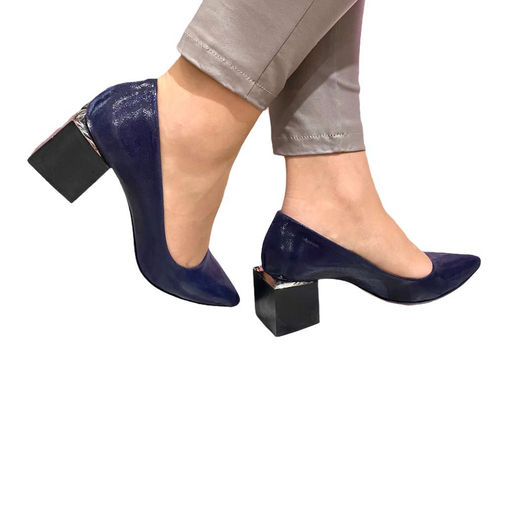 Pantofi bleumarin cu toc cub