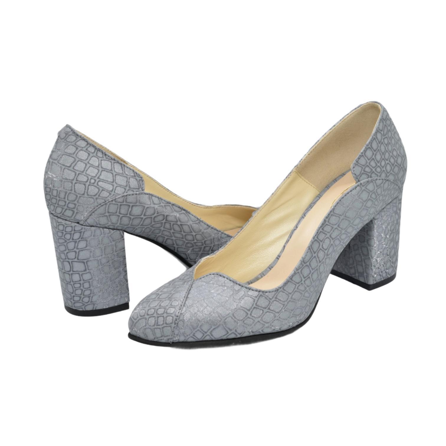 Pantofi gri cu model asbstract