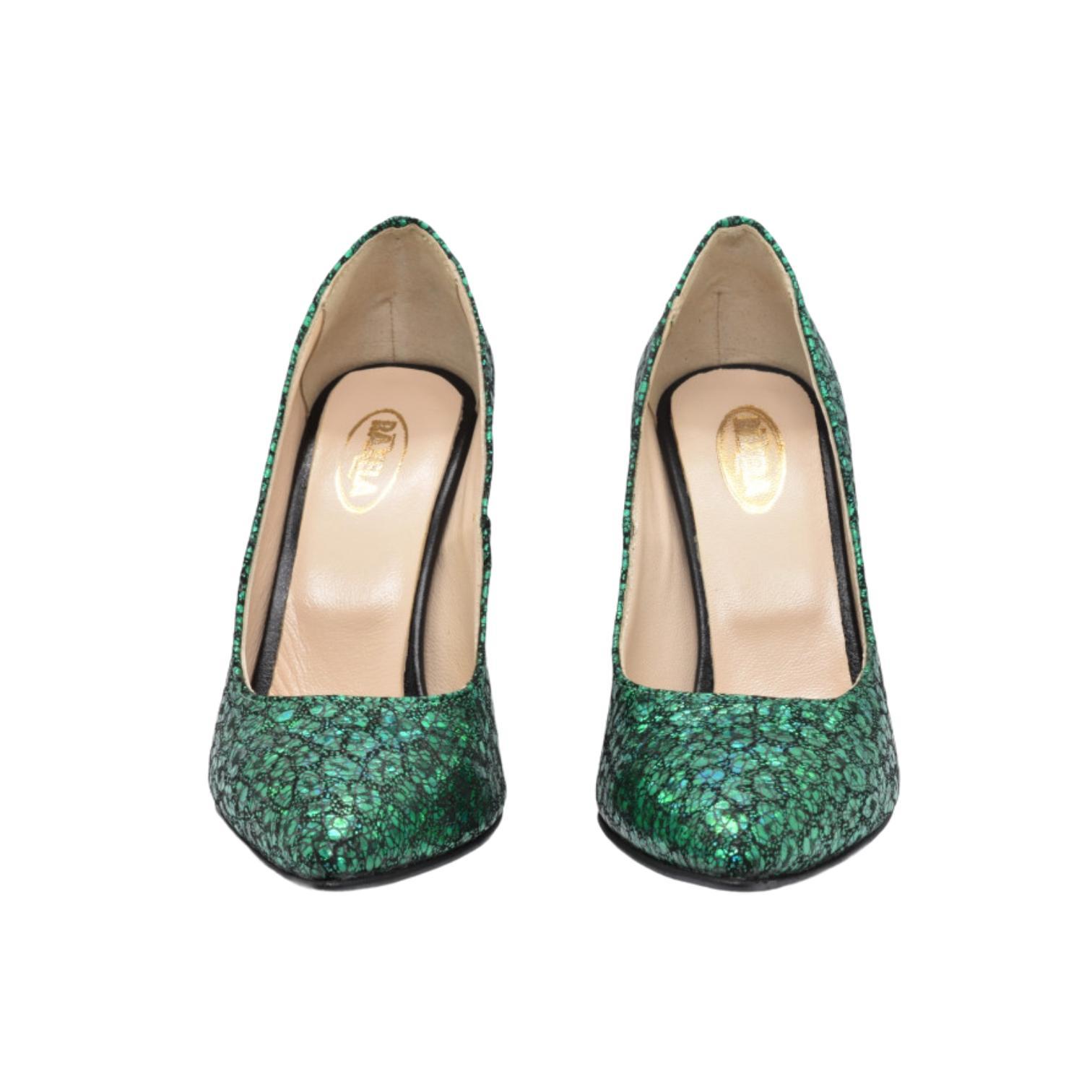 Pantofi verzi cu imprimeu