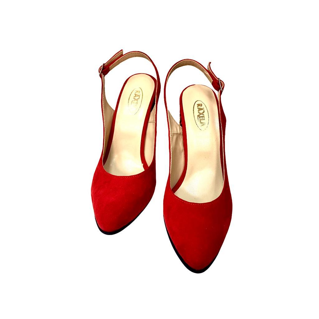 Pantofi decupati rosii cu toc cu aplicatii sferice si bareta