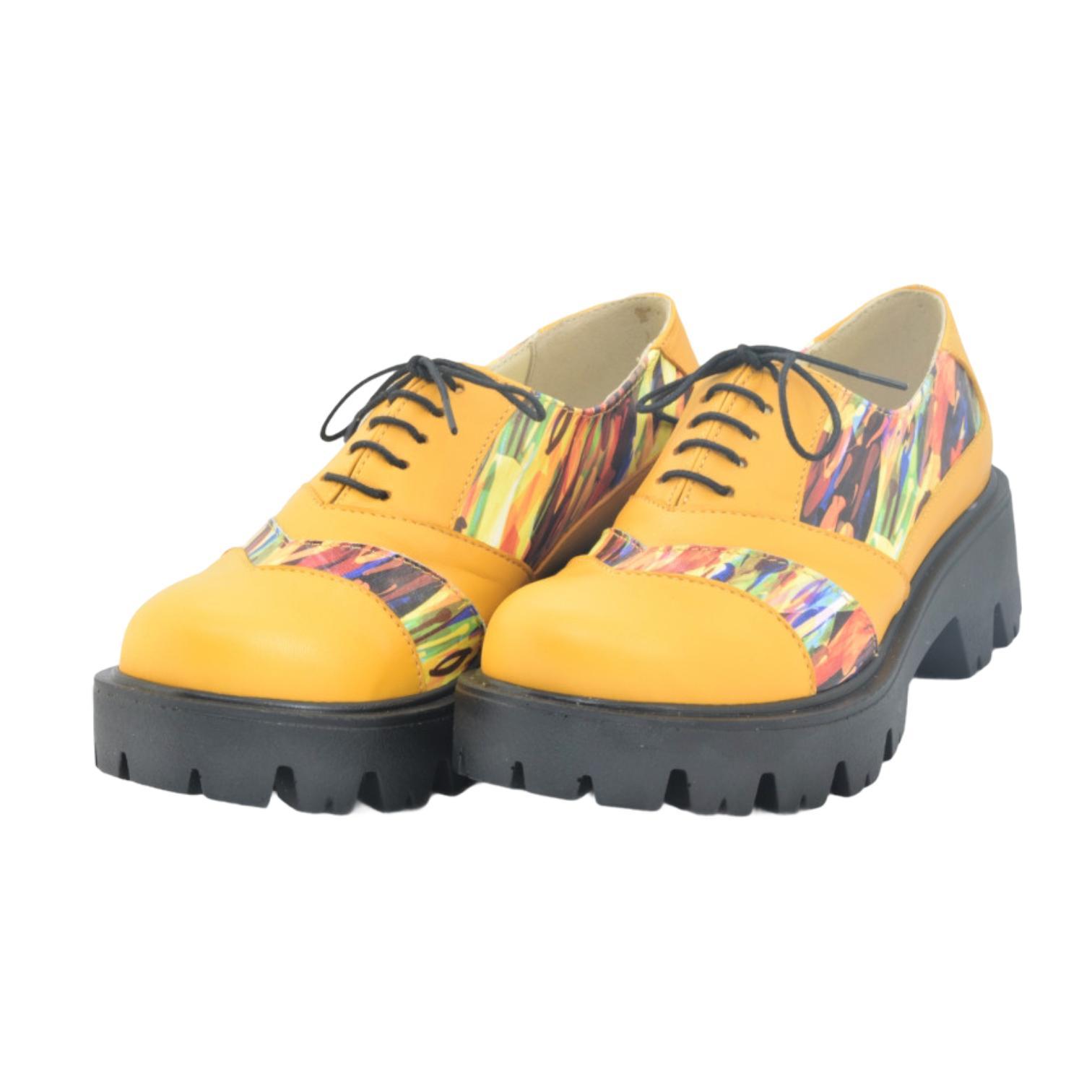 Pantofi galbeni cu imprimeu multicolor