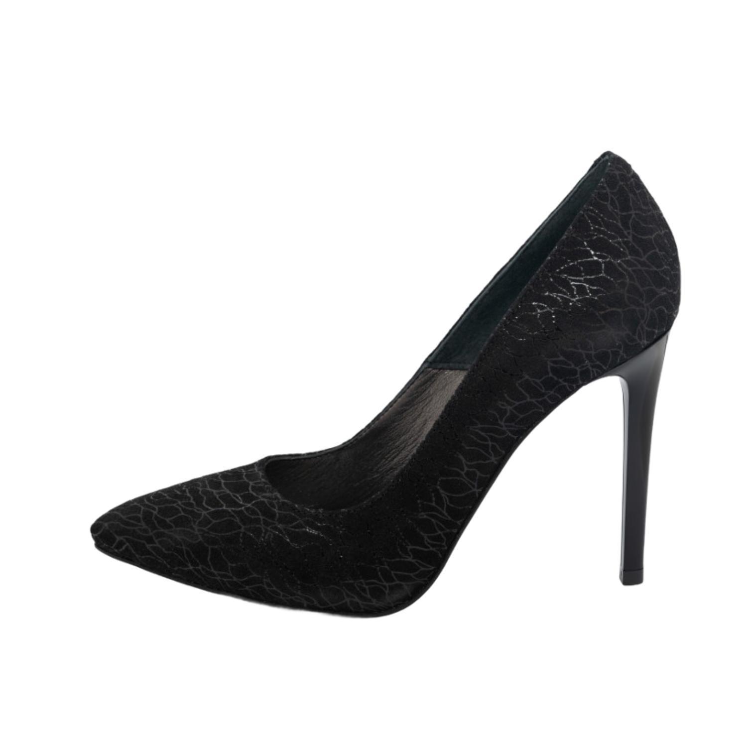 Pantofi negri cu model abstract argintiu