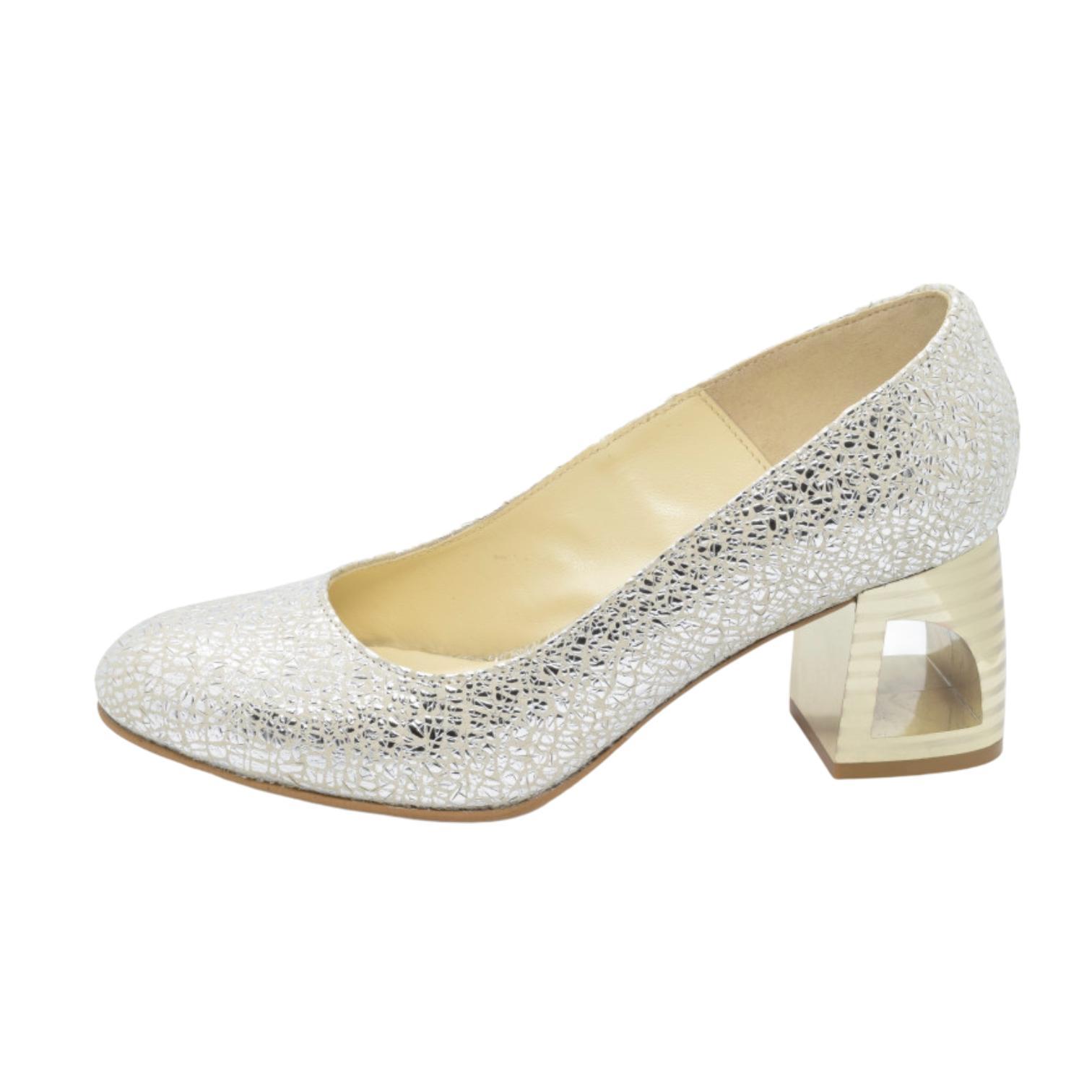 Pantofi argintii cu toc in dungi
