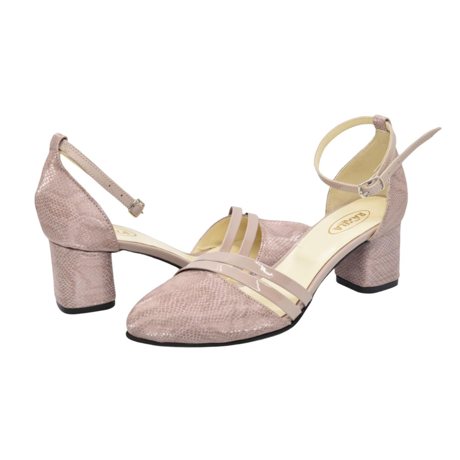 Pantofi decupati pudra cu imprimeu si accesoriu