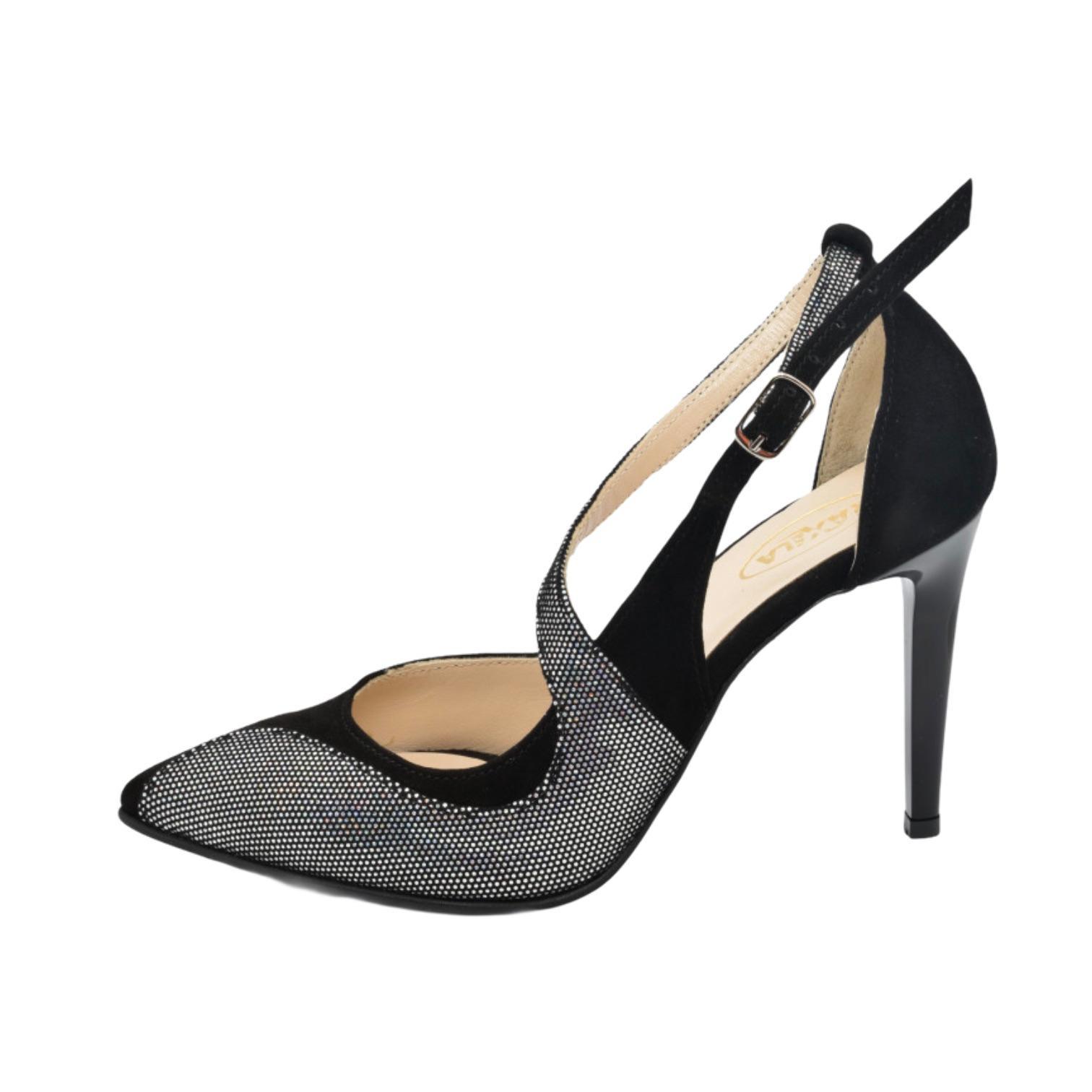Pantofi decupati negri combinati cu piele argintie