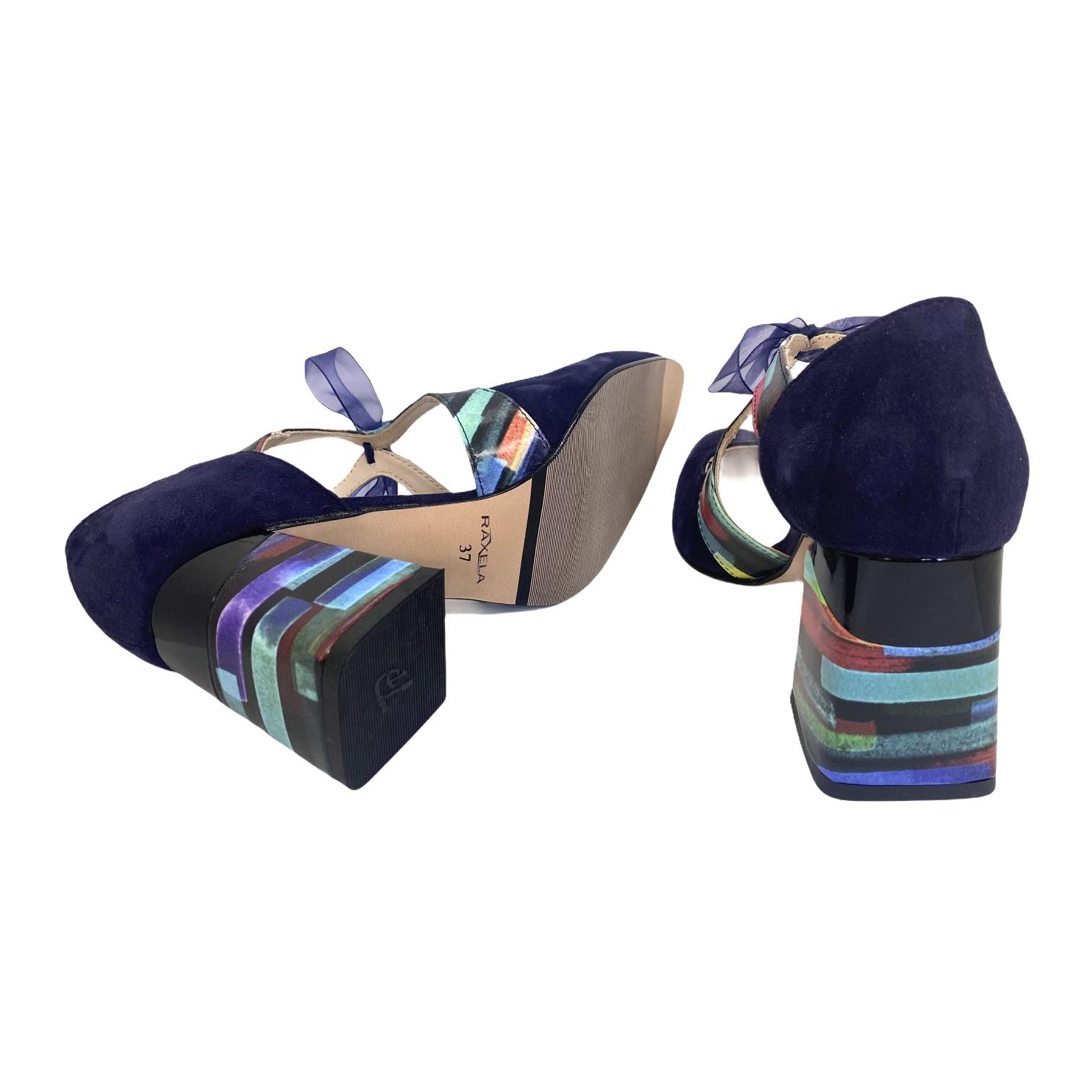 Pantofi bleumarin decupati cu fundita