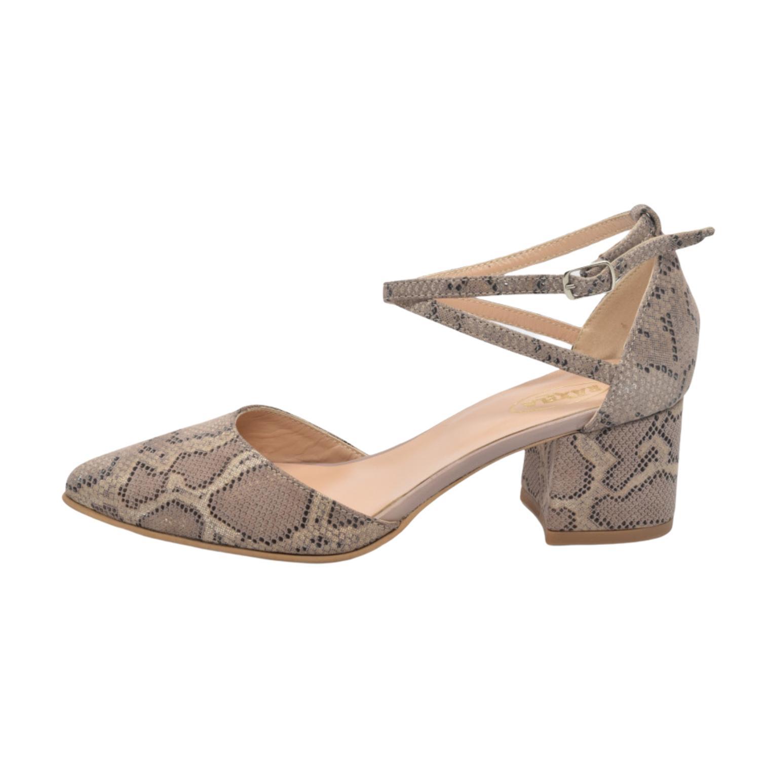 Pantofi decupati bej tip anaconda