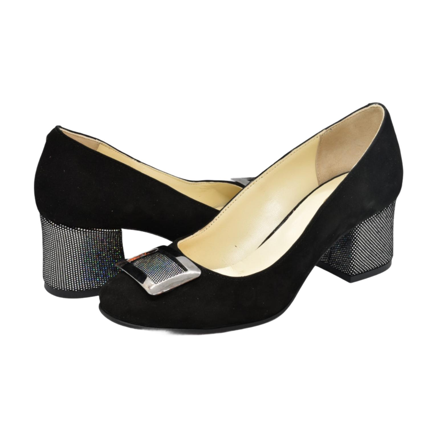 Pantofi negri cu accesoriu si toc sclipitor