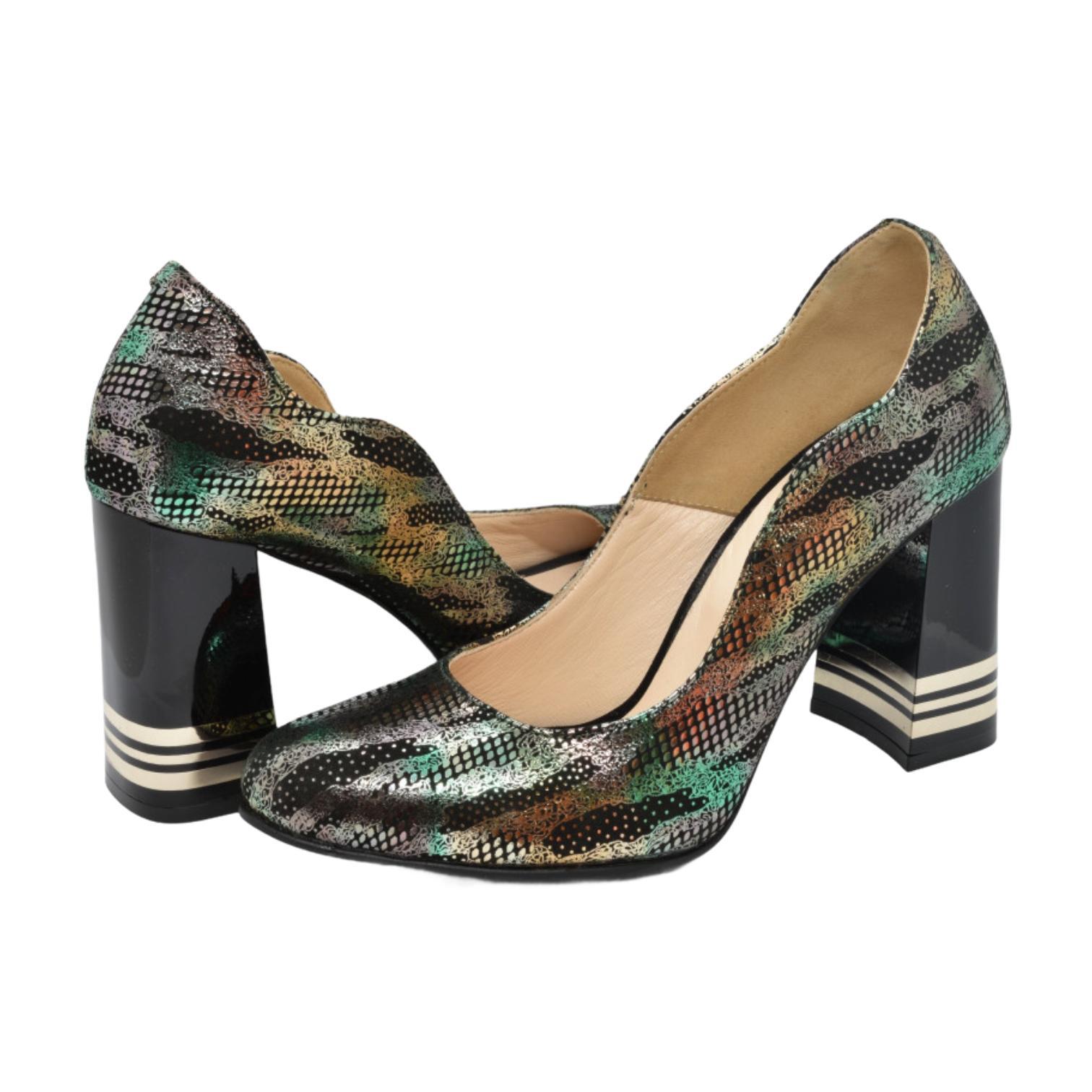 Pantofi negri cu model auriu si verde