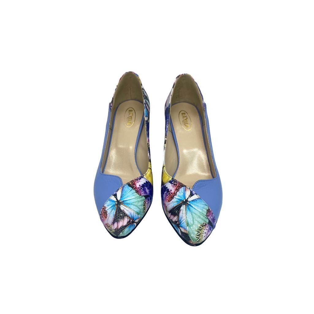 Pantofi lavanda combinat cu fluturi