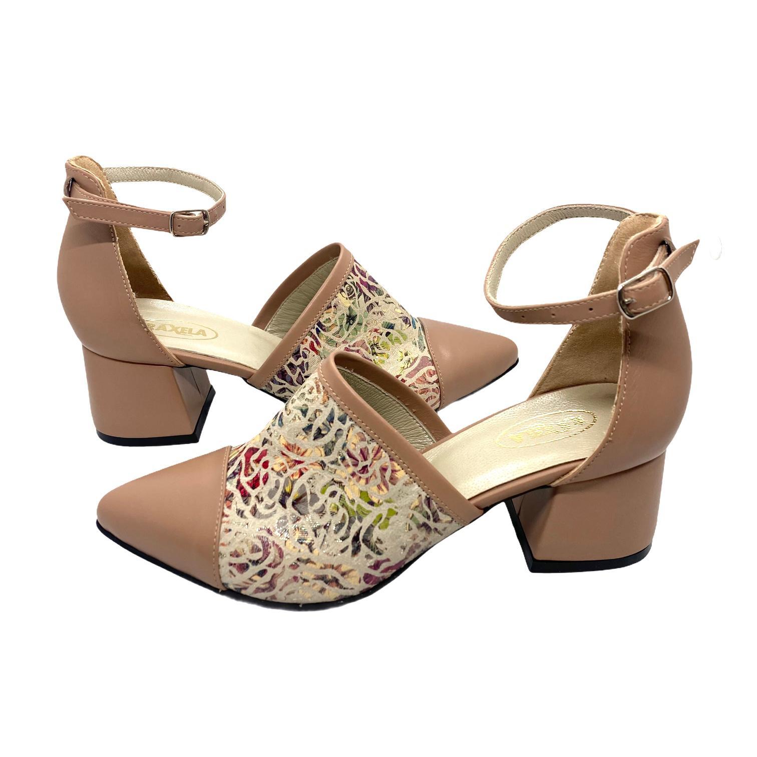 Pantofi decupati nude cu model floral colorat