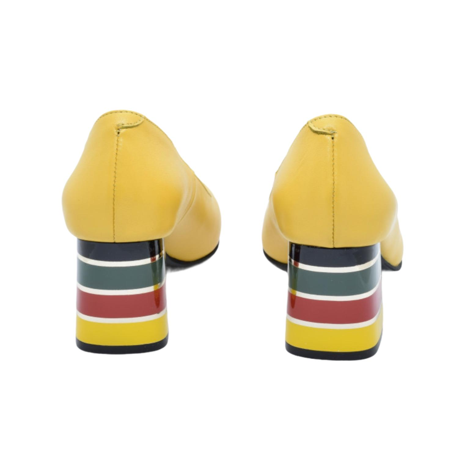 Pantofi galbeni cu toc colorat in dungi