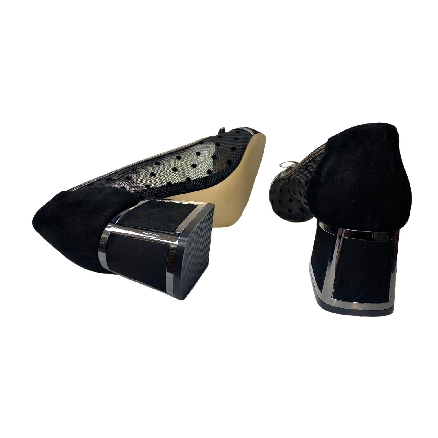 Pantofi negri din piele si material textil