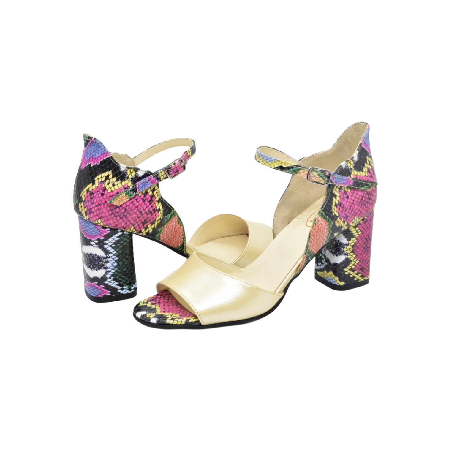 Sandale bej si multicolore