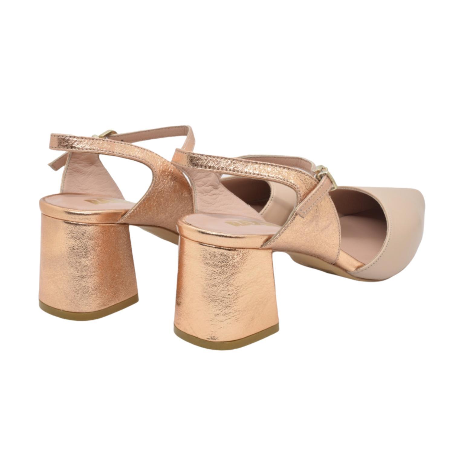 Pantofi nude cu barete aurii