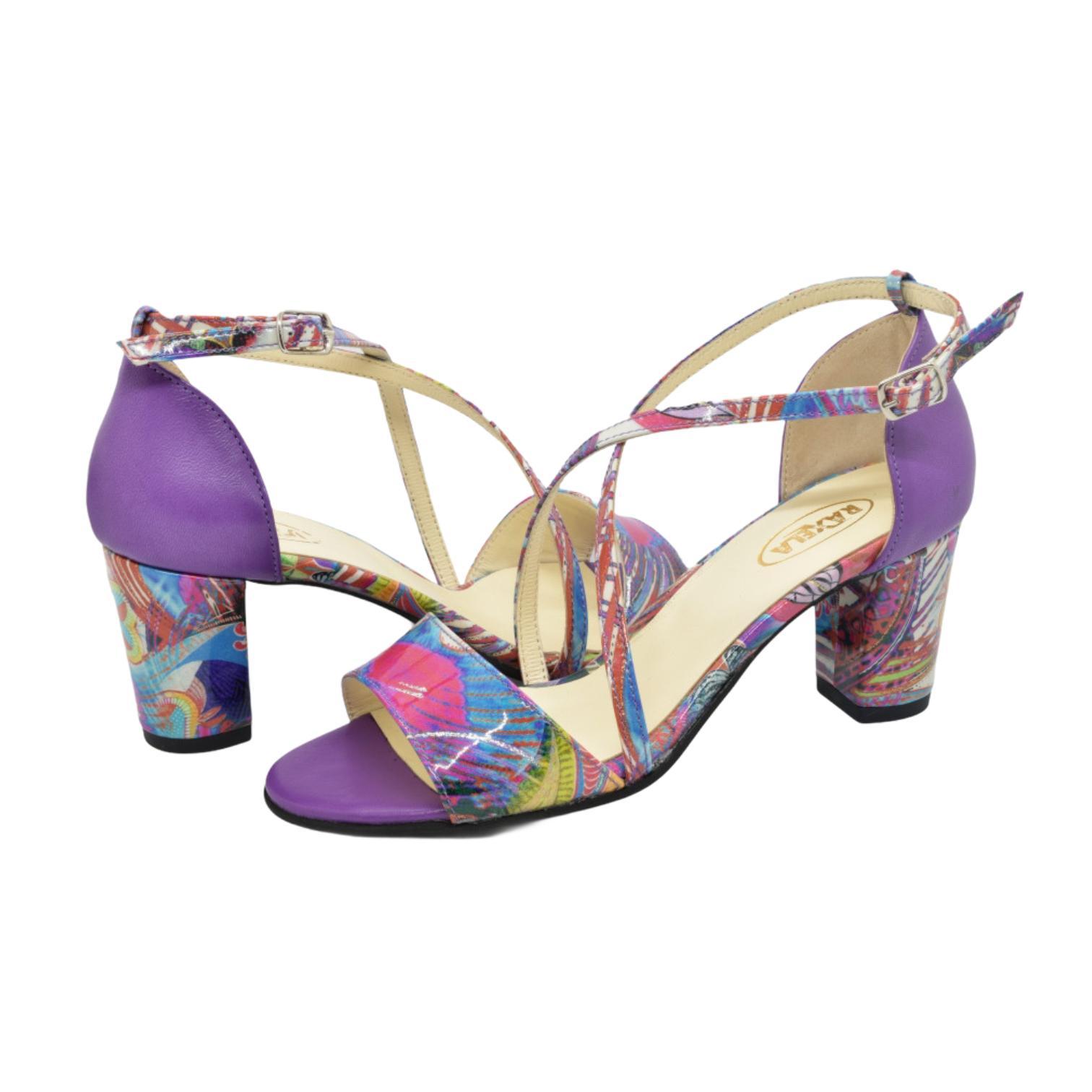 Sandale mov cu model floral