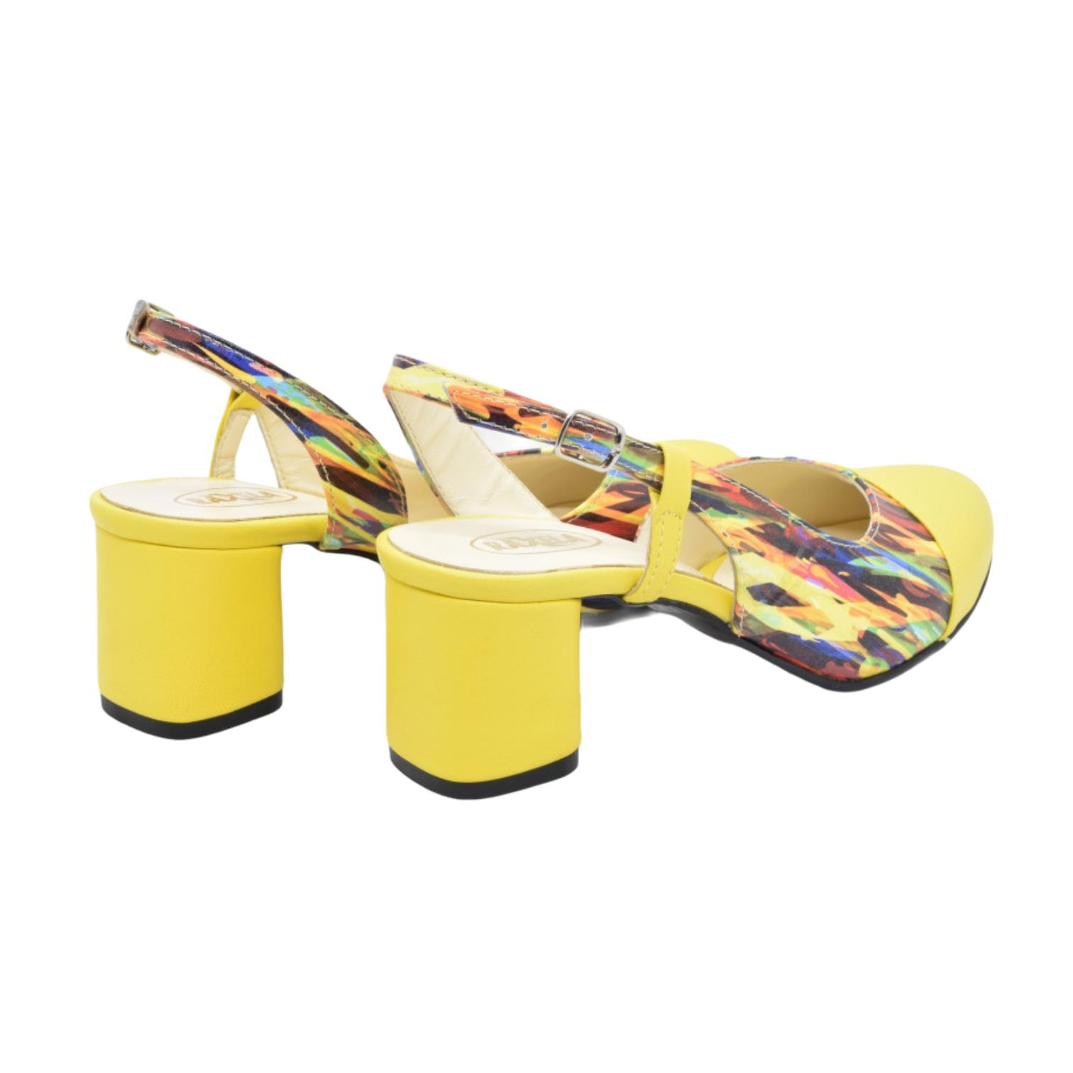 Pantofi decupati galbeni cu imprimeu azur