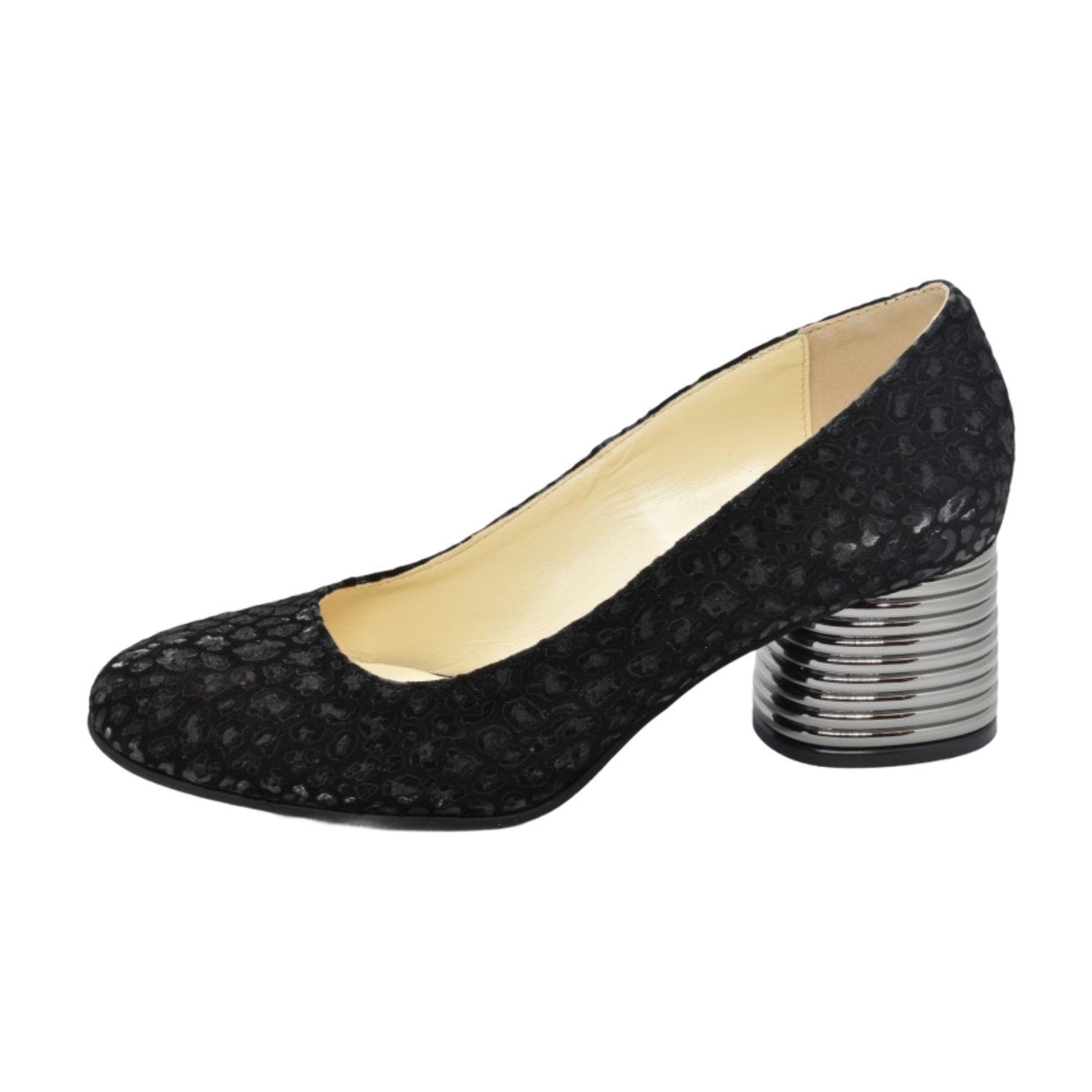 Pantofi negri cu imprimeu si toc argintiu