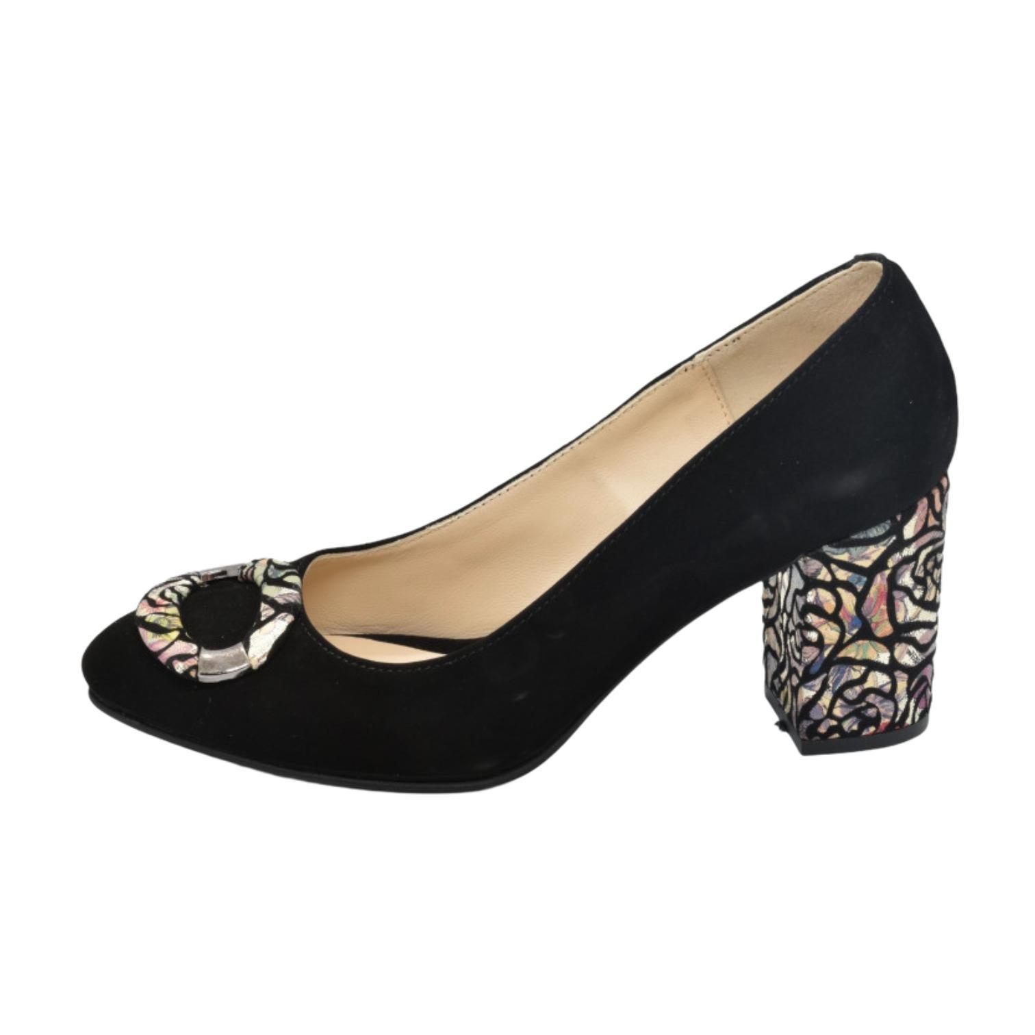 Pantofi negri cu accesoriu colorat