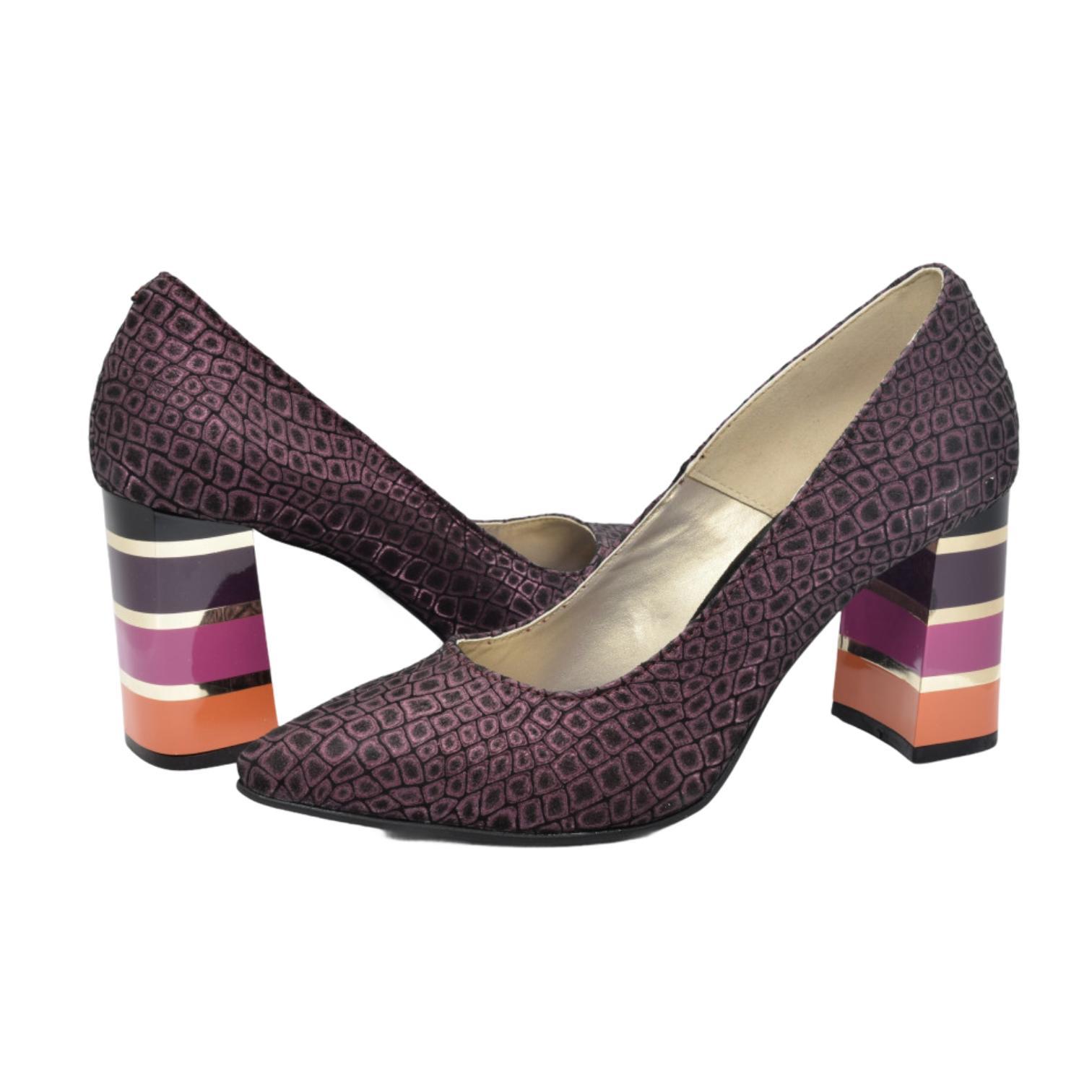 Pantofi mov cu imprimeu abstract si toc in dungi