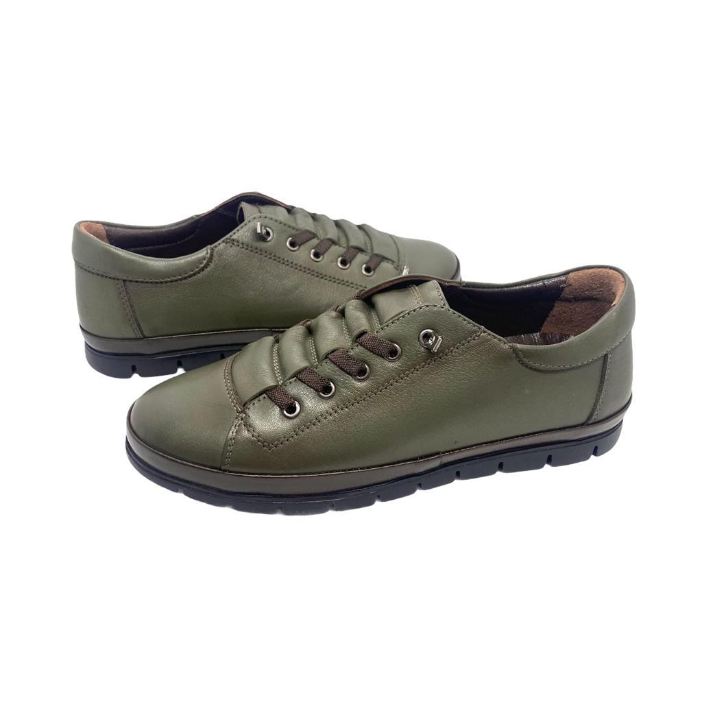 Pantofi kaki cu siret