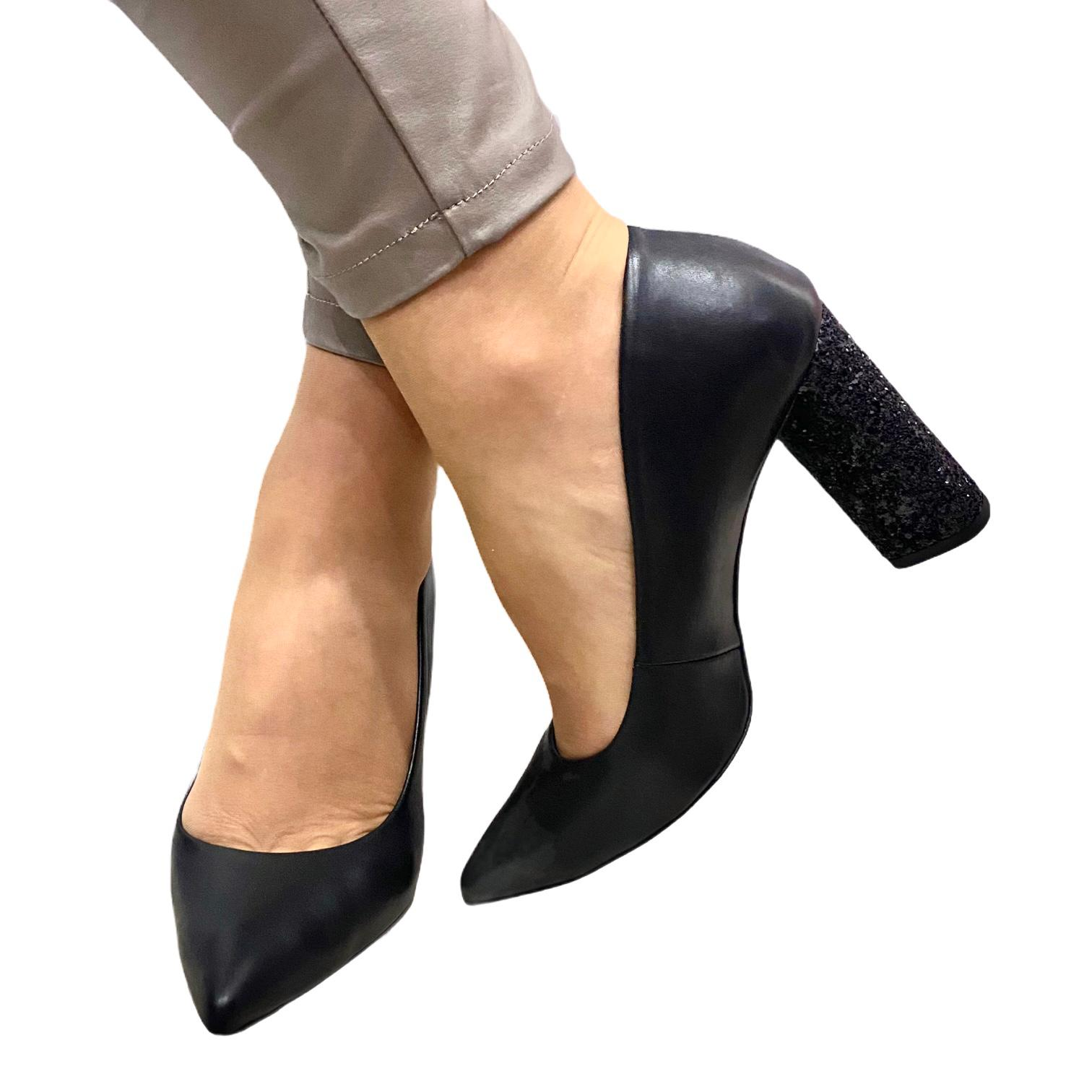 Pantofi Kordel negri cu toc cu sclipici