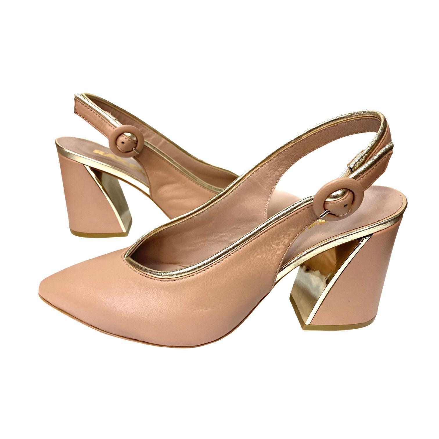 Pantofi decupati nude cu detaliu auriu