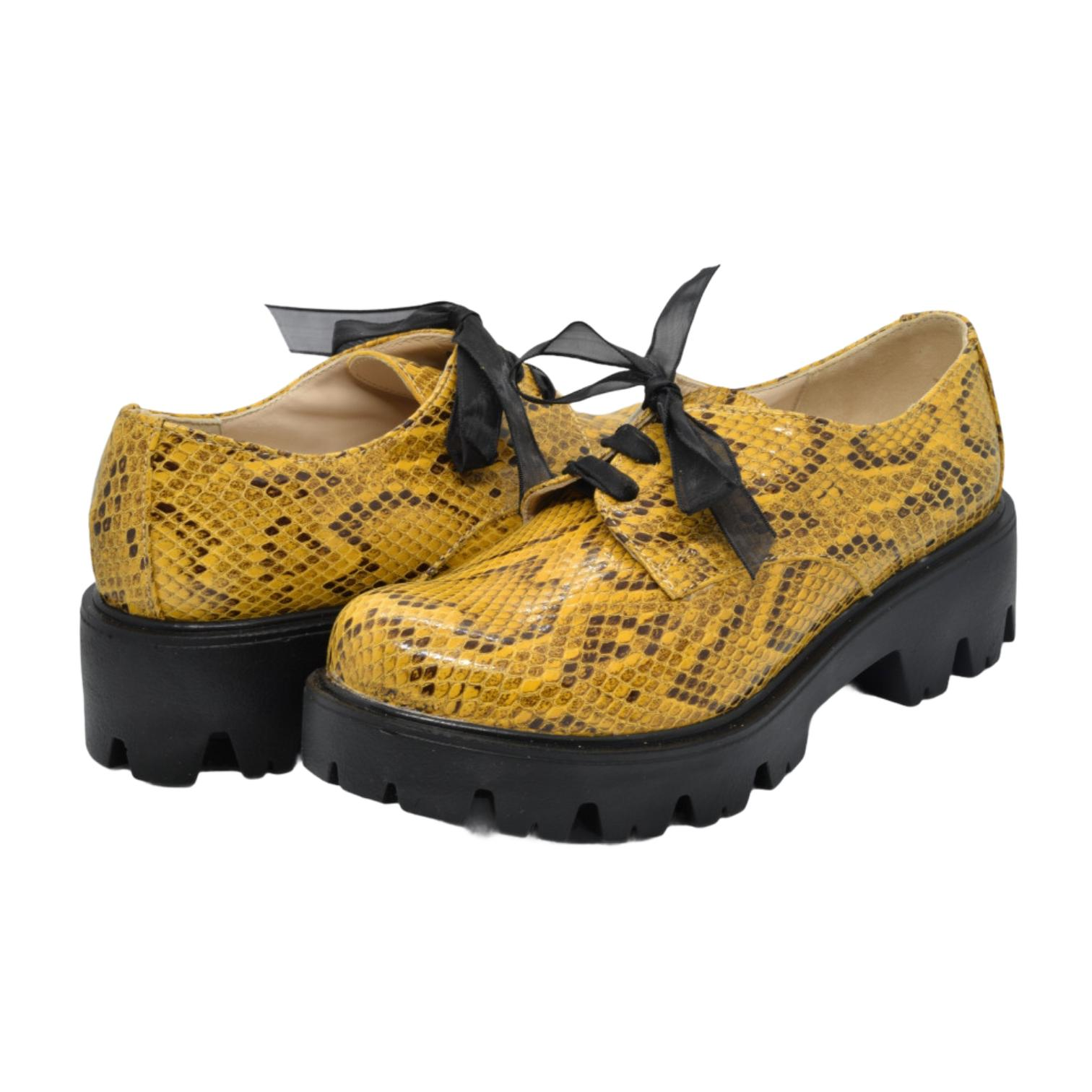 Pantofi galbeni tip sarpe cu platforma