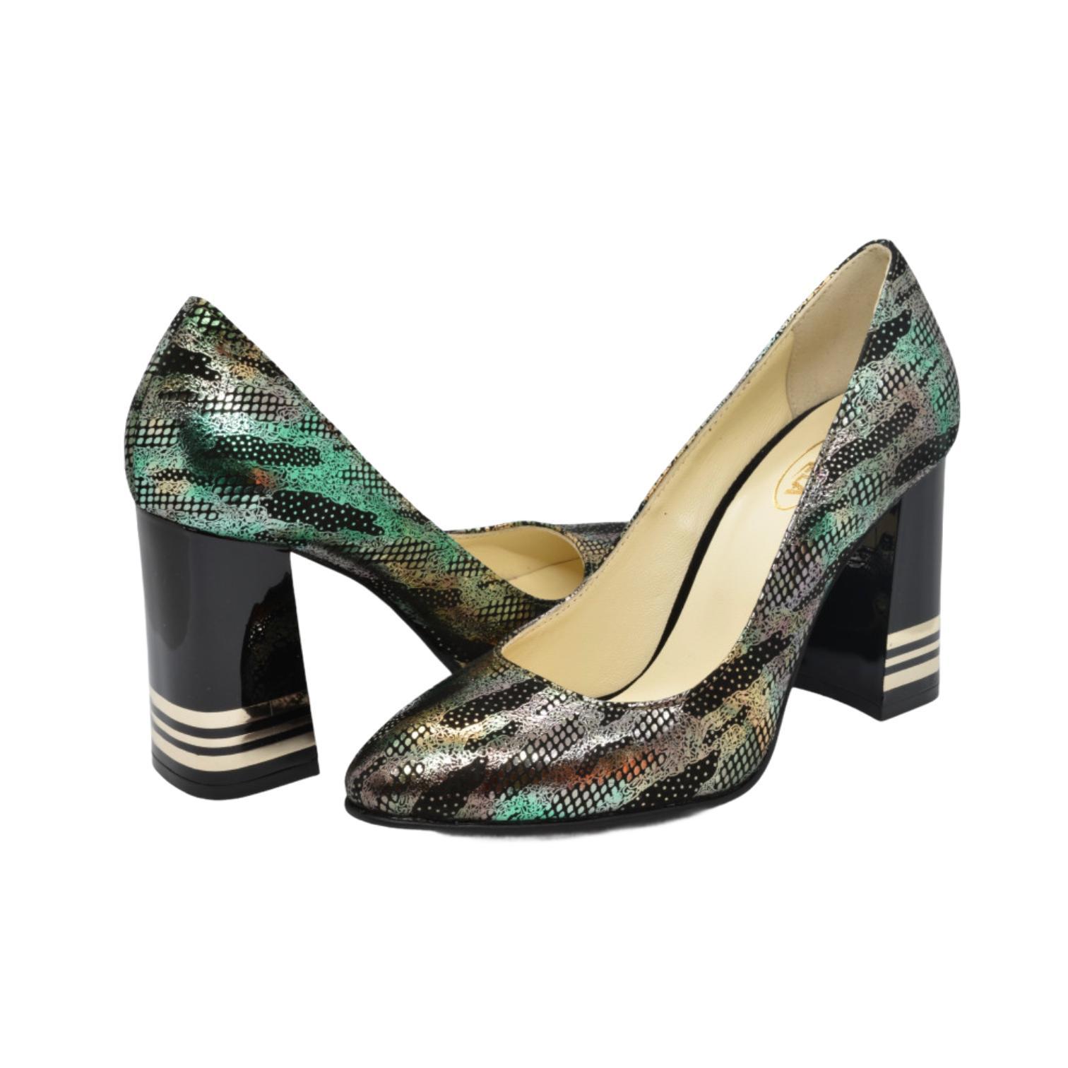 Pantofi negri cu model verde si auriu