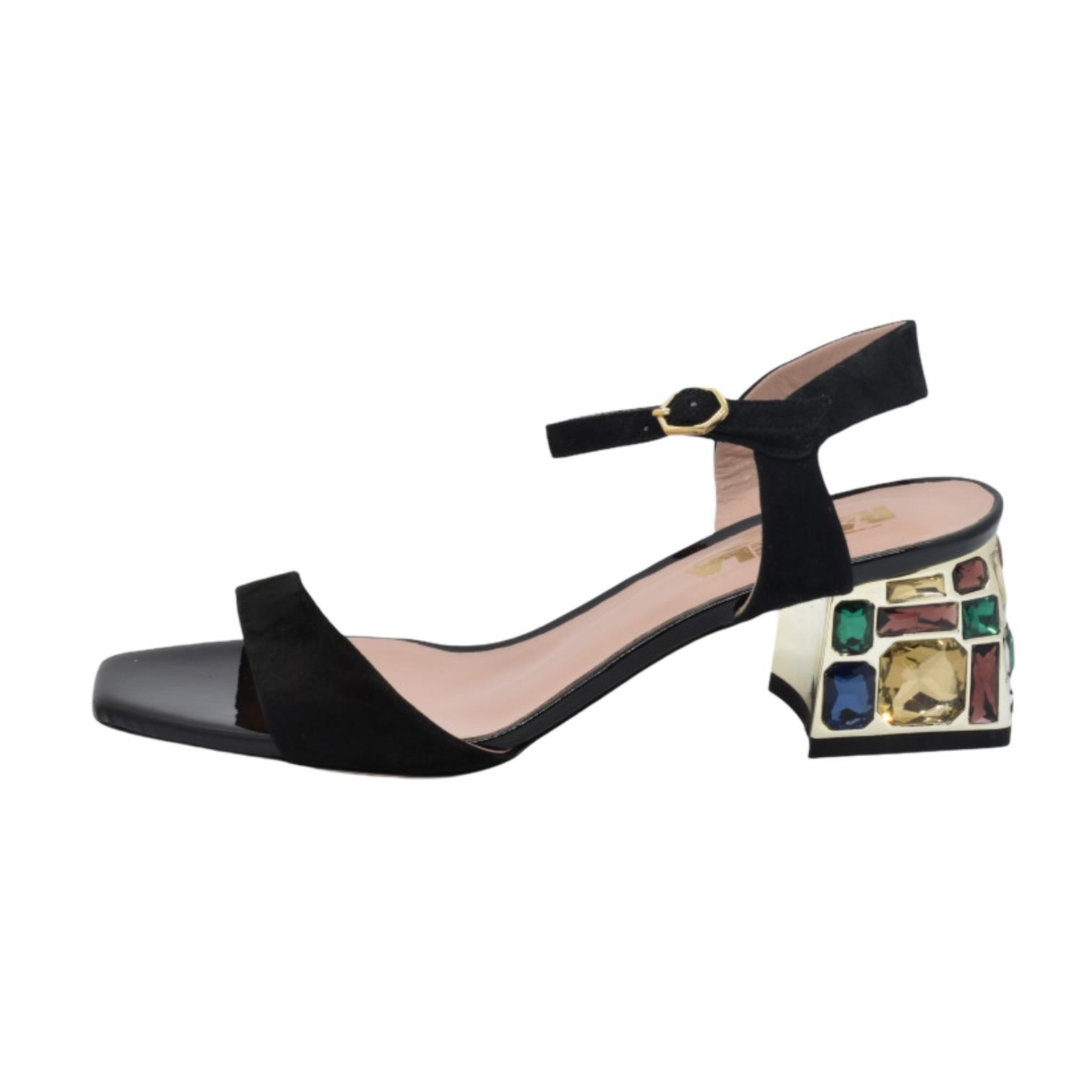 Sandale negre cu toc multicolor