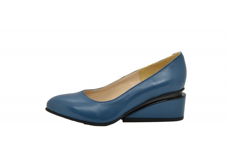 Pantofi albastri marin cu toc ortopedic