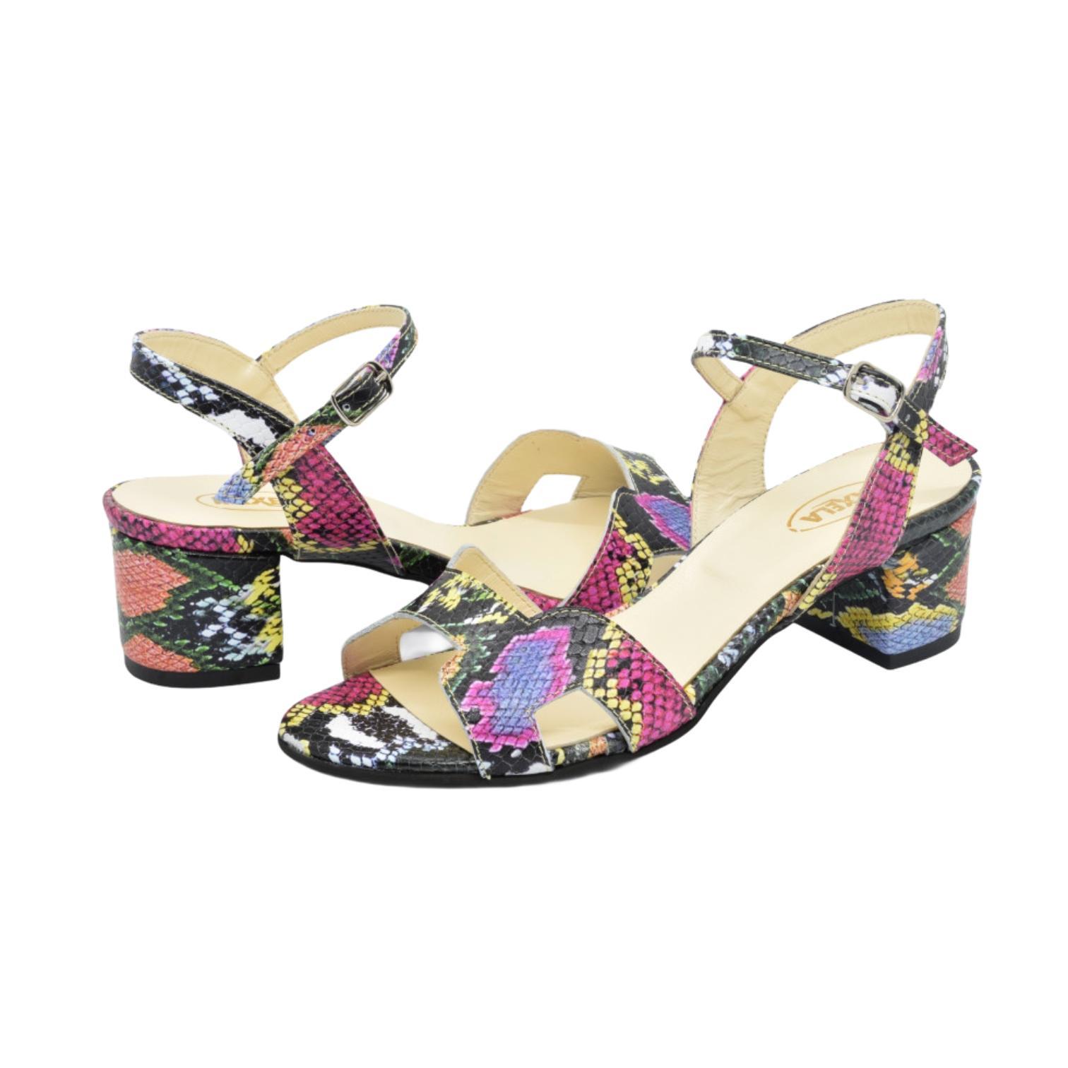 Sandale multicolore cu model