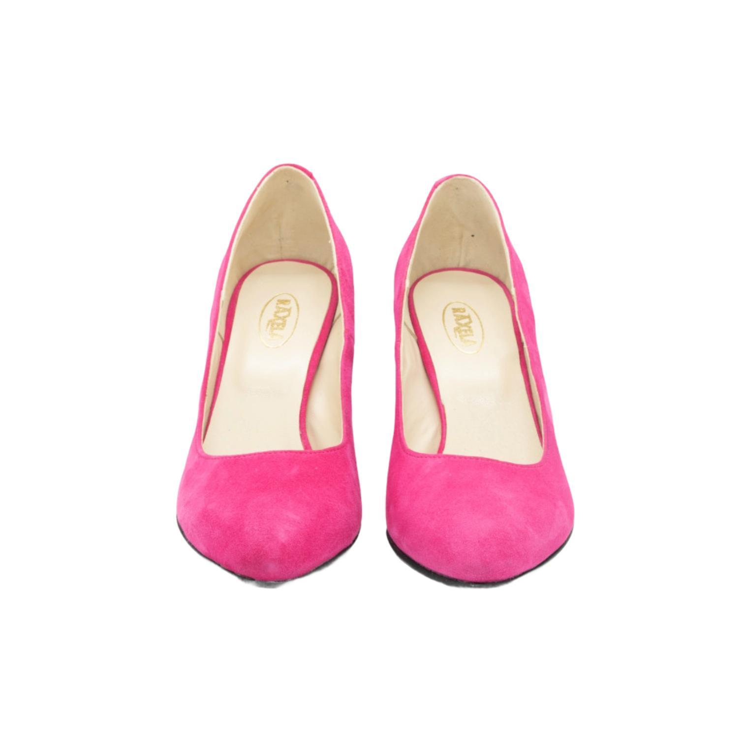 Pantofi fuchsia cu toc colorat