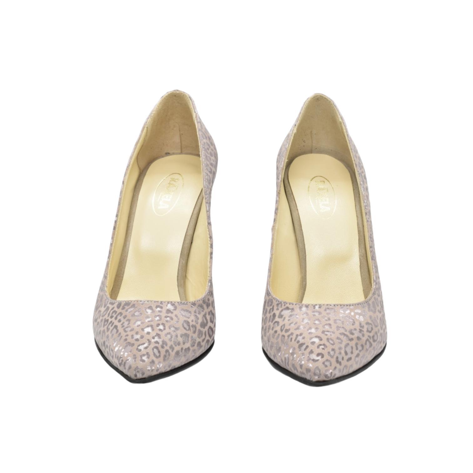 Pantofi somon cu imprimeu tip pantera